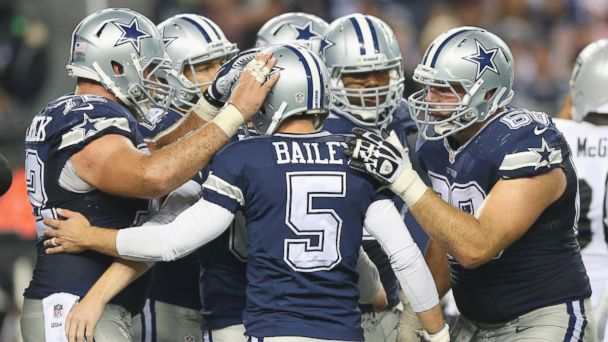 PHOTO: Dan Bailey, #5 of the Dallas Cowboys, celebrates a field goal against the Oakland Raiders, Nov. 28, 2013 in Arlington, Texas.