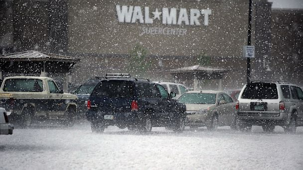 PHOTO: Hail pounds cars in the Wal Mart parking lot in Westminster during a storm.