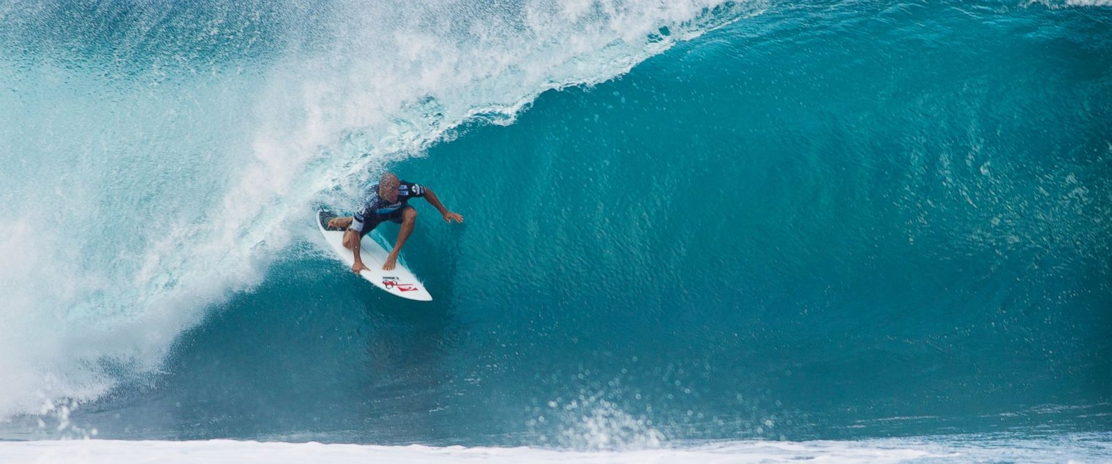 PHOTO: Kelly Slater of the U.S. surfs inside a barrel during the Billabong Pipeline Masters in this Dec. 9, 2011, file photo in North Shore, United States.