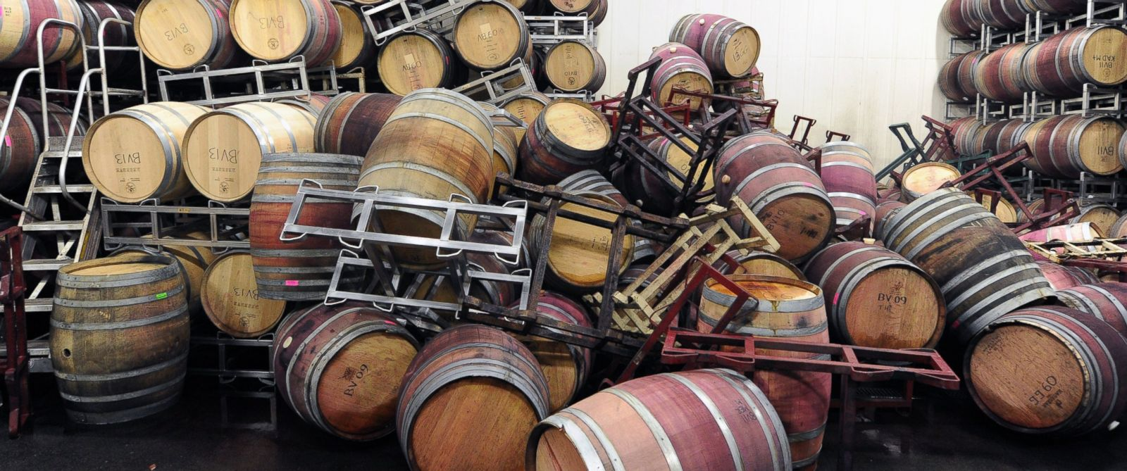 PHOTO: Barrels are strewn about inside the storage room of Bouchaine Vineyards in Napa, Calif. on Aug. 24, 2014.