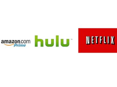 PHOTO: Amazon, Hulu and Netflix logos are seen here.