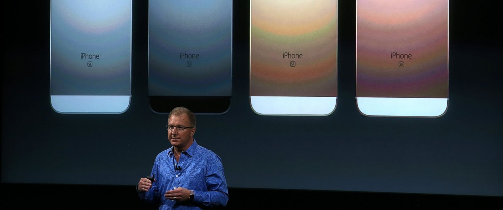 PHOTO:Apple VP Greg Joswiak announces the new iPhone SE during an Apple special event at the Apple headquarters, March 21, 2016, in Cupertino, Calif.