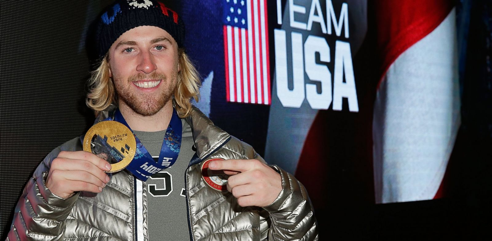 PHOTO: U.S. Olympian and gold medalist Sage Kotsenburg visits the USA House in the Olympic Village, Feb. 8, 2014, in Sochi, Russia.
