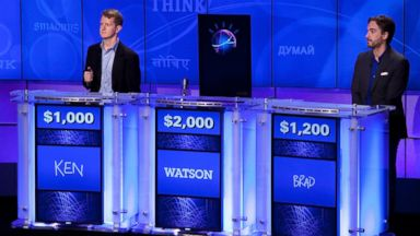 "PHOTO: Contestants Ken Jennings, left, and Brad Rutter, right, compete against ""Watson"" at a press conference to discuss the upcoming Man vs. Machine ""Jeopardy!"" competition at the IBM T.J. Watson Research Center on Jan. 13, 2011 in Yorktown Heights, N.Y."