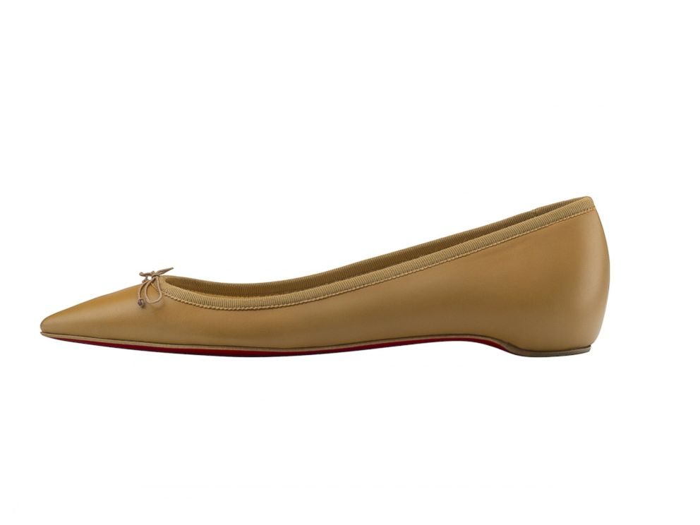 PHOTO: Christian Louboutin introduces a pointy-toe ballet flat for every skin tone. Pictured above, Solasofia flat in Nappa Nude.