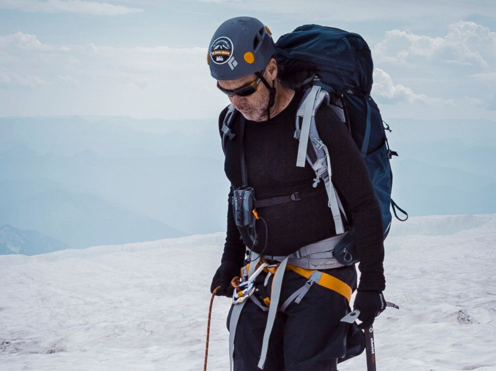 PHOTO: Jerry Stritzke, CEO of REI, climbing Mt. Rainier in Washington, in a photo provided by REI.