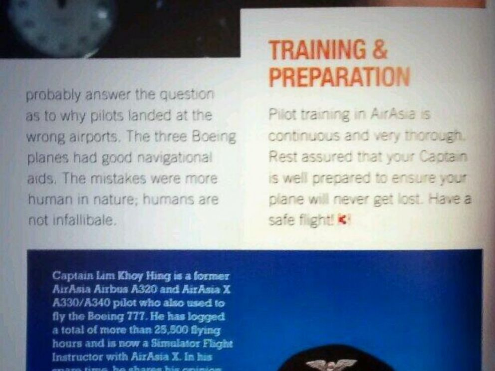PHOTO: This image posted to Twitter by user Jimie Cheng shows an article in AirAsias magazine