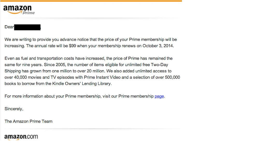 PHOTO: Customers received an email that indicated their Amazon Prime membership rates will increase.
