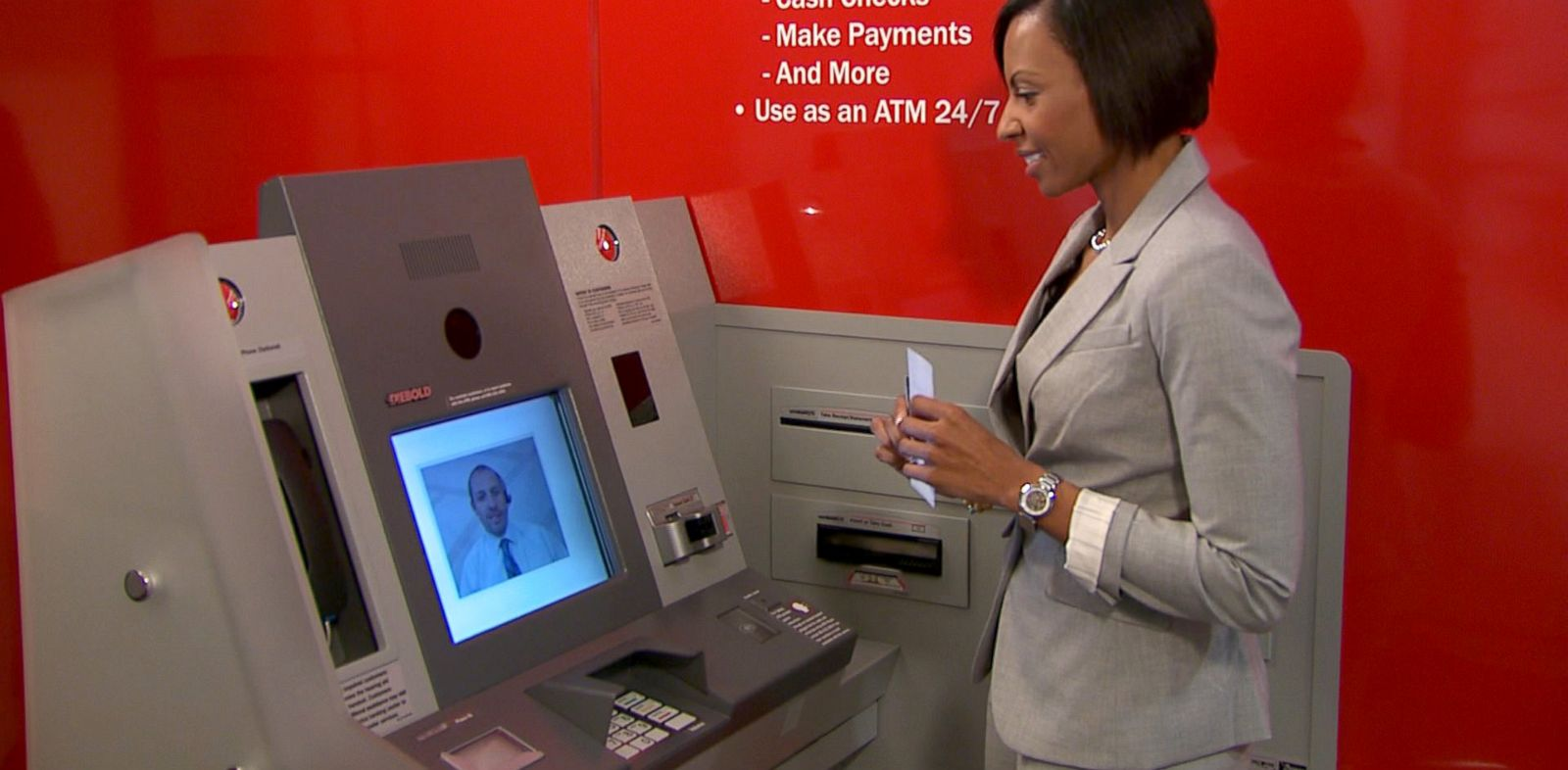 "PHOTO: Bank of America is testing 150 ""ATMs with Teller Assist"" in 61 locations in the country."