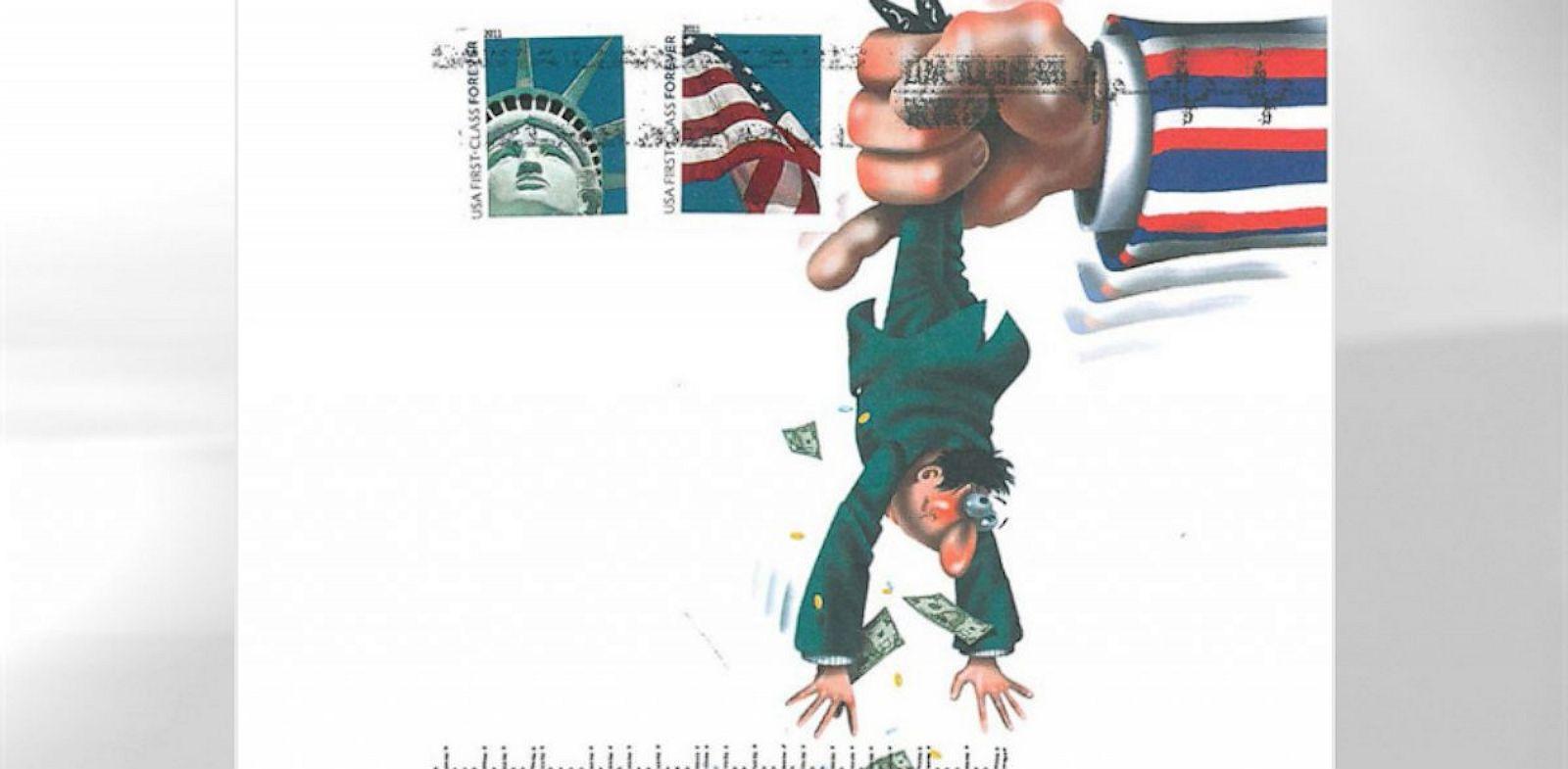 PHOTO: debt collectors cartoon envelope