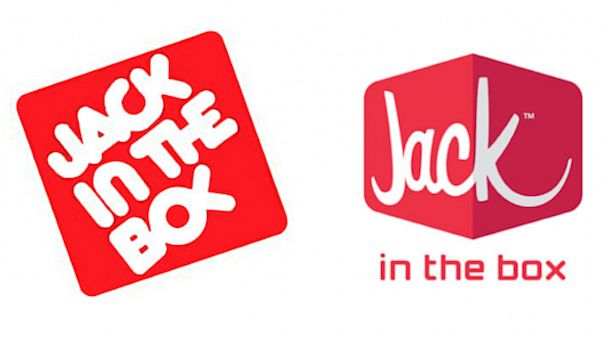 PHOTO: Jack In The Box original logo, left, and new design, right.