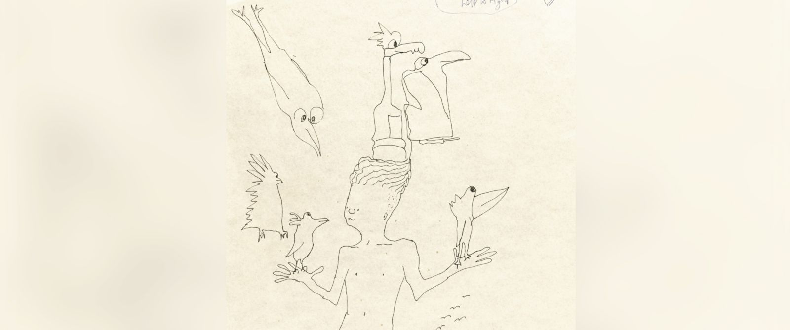 PHOTO: John Lennons untitled ink drawing of a boy with six birds is up for auction.