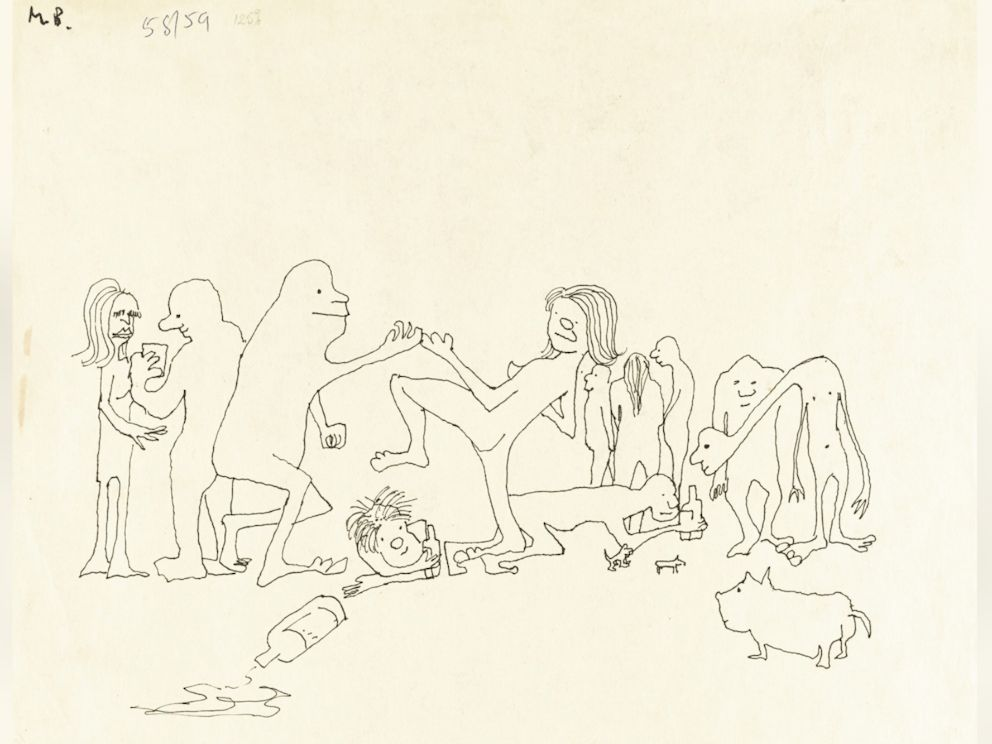 PHOTO: John Lennons ink drawing Puffing and globbering they drugged theyselves rampling or dancing with wild abdomen, stubbing in wild postumes amongst themselves... is up for auction. <p itemprop=