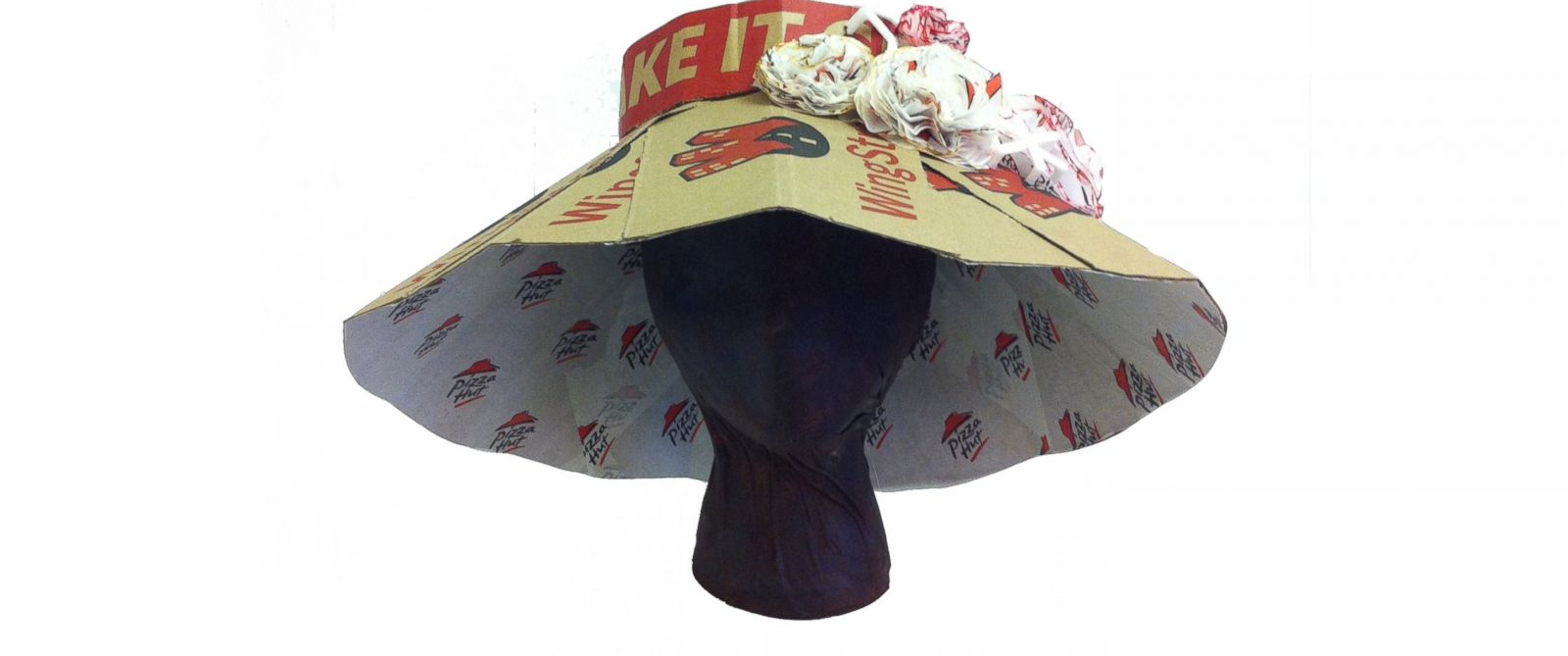 PHOTO: Pizza Hut boxes used to create fancy Kentucky Derby hats.