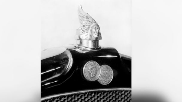 "PHOTO: Pontiac's arrowhead logo replaced the ""Indian Head"" design in 1958."