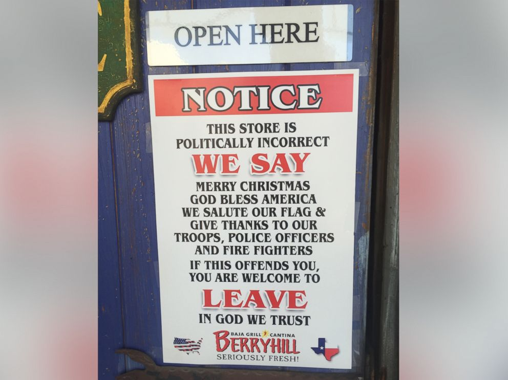 PHOTO: A chain of restaurants recently posted this notice to its doors warning customers that it is a politically incorrect environment.