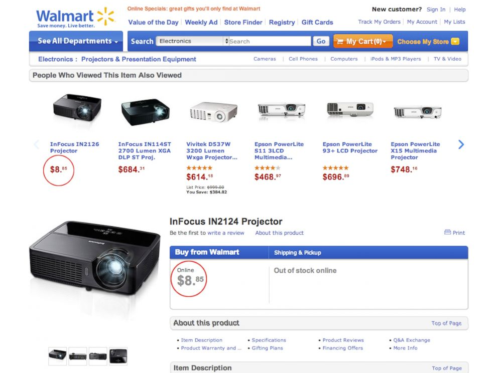 PHOTO: Walmart says that a technical error on its website erroneously led to super low prices on Nov. 6, 2013.
