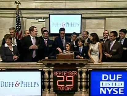 Picture of Opening Bell at New York Stock Exchange.