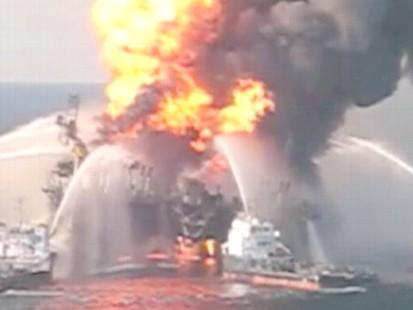 VIDEO: Coastguard Fights Gulf Oil Fires.