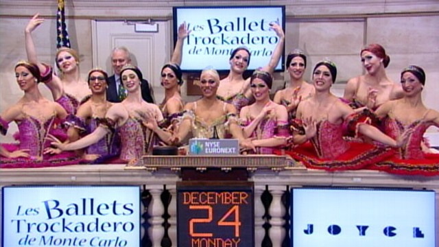 VIDEO: Dancers from Les Ballets Trockadero de Monte Carlo ring the opening bell.