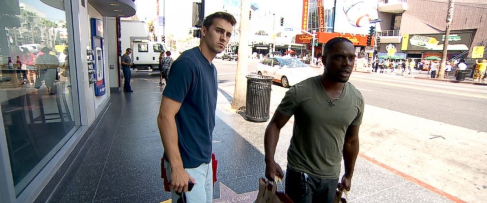 """PHOTO: Vine stars Cody Johns and Greg Davis, who goes by the username """"Klarity,"""" are seen here working on a new Vine video in Los Angeles."""
