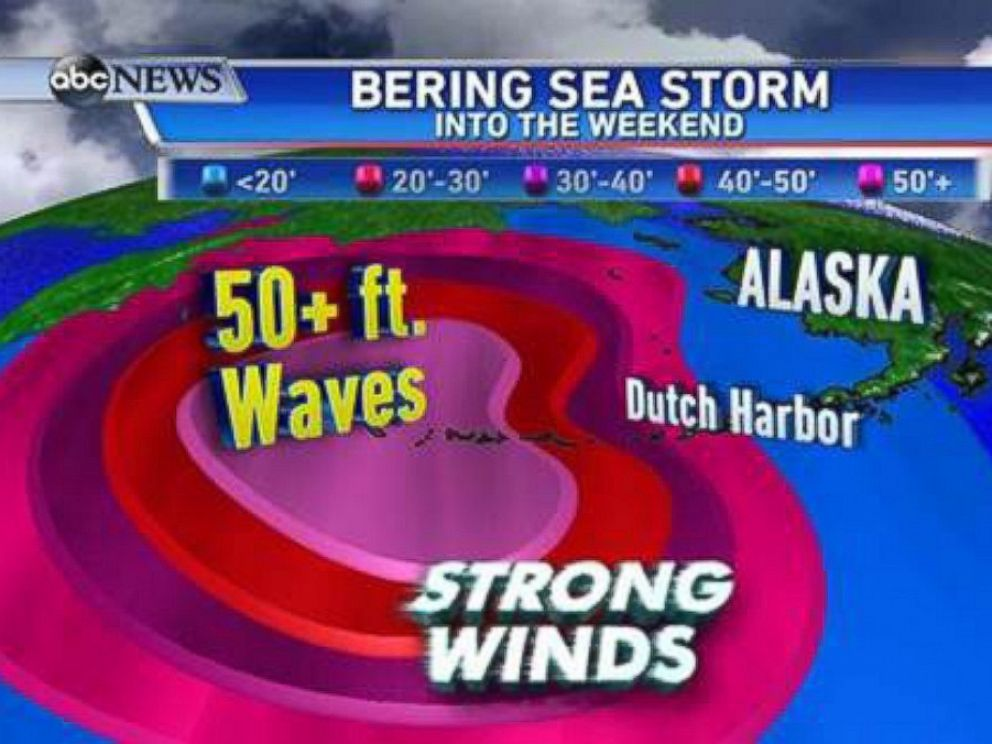 PHOTO: It's time for fishermen to get out of the seas as fast as possible! Look at these predicted wave heights for Friday night and Saturday! Waves over 50ft are very possible from this storm.