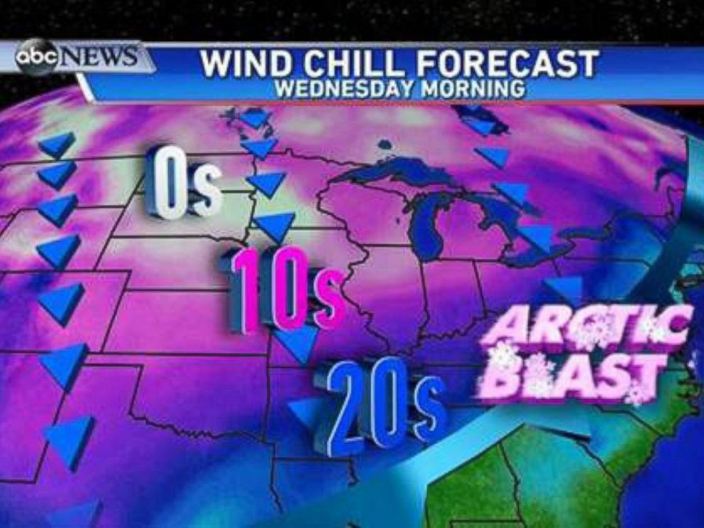 PHOTO: Wednesday morning wake up to wind chills. Single digits in the Northern Plains, teens from Texas to Cleveland, and 20s all the way down to Louisiana, Mississippi, and Tennessee.