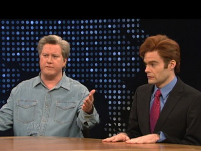 VIDEO: Jay Leno is the target as Saturday Night Live spoofs NBCs talk show shuffle.