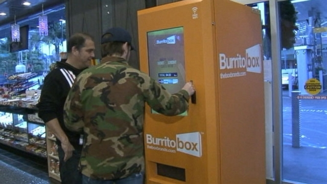 The Burrito Box produces six varieties of hormone-free burritos, with optional sides, in 60 seconds.