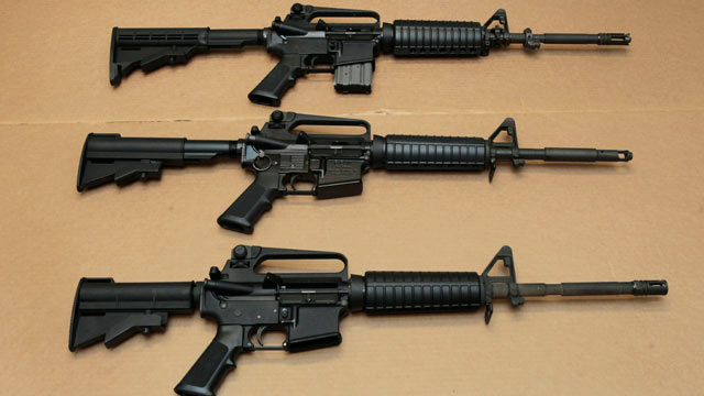 PHOTO:Three variations of the AR-15 assault rifle are displayed at the California Department of Justice in Sacramento, Calif., Aug. 15, 2012.
