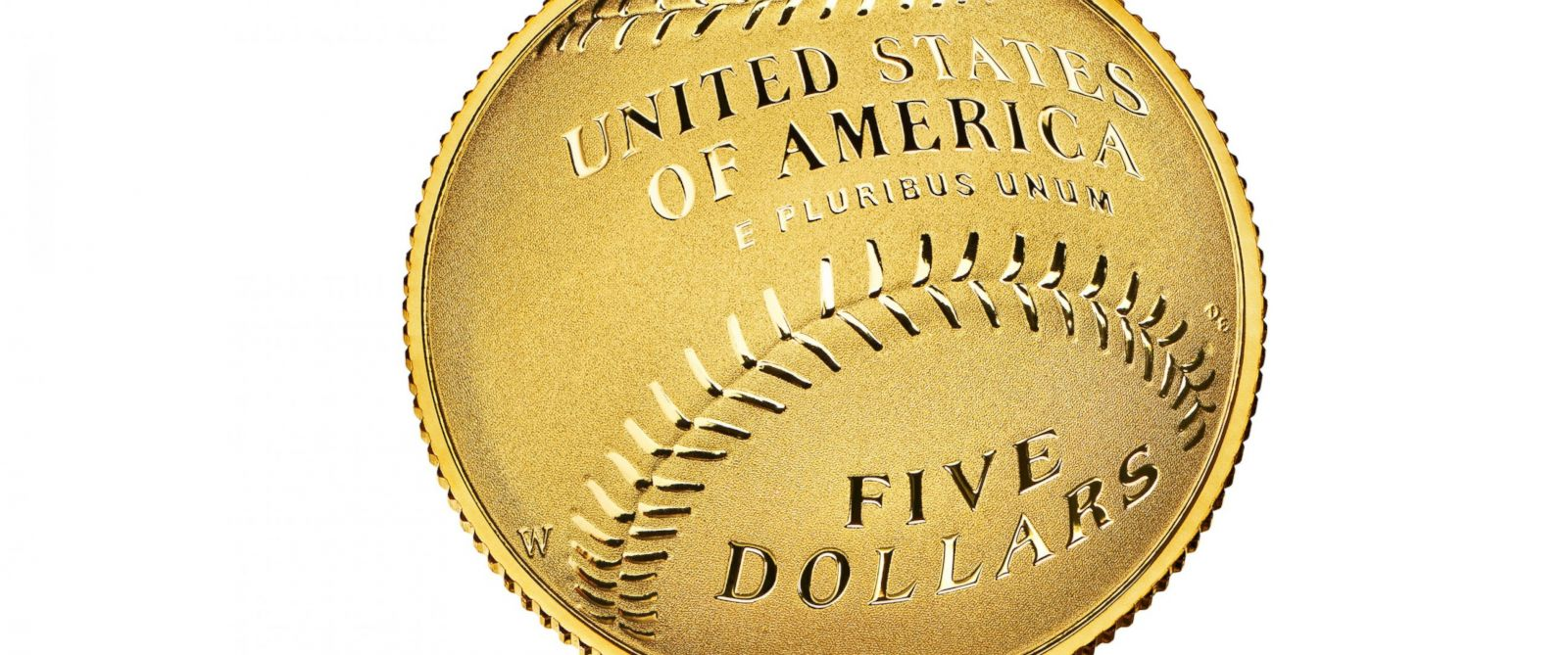 PHOTO: This undated photo released by the U.S. Mint shows one side of the gold $5 National Baseball Hall of Fame coin.
