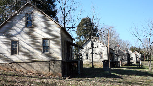 "PHOTO: The abandoned Henry River Mill Village in Hildebran, N.C., where scenes from ""The Hunger Games"" were shot is shown."