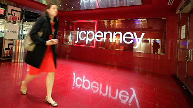 PHOTO: A customer leaves a J.C. Penney store, April 9, 2013, in New York.