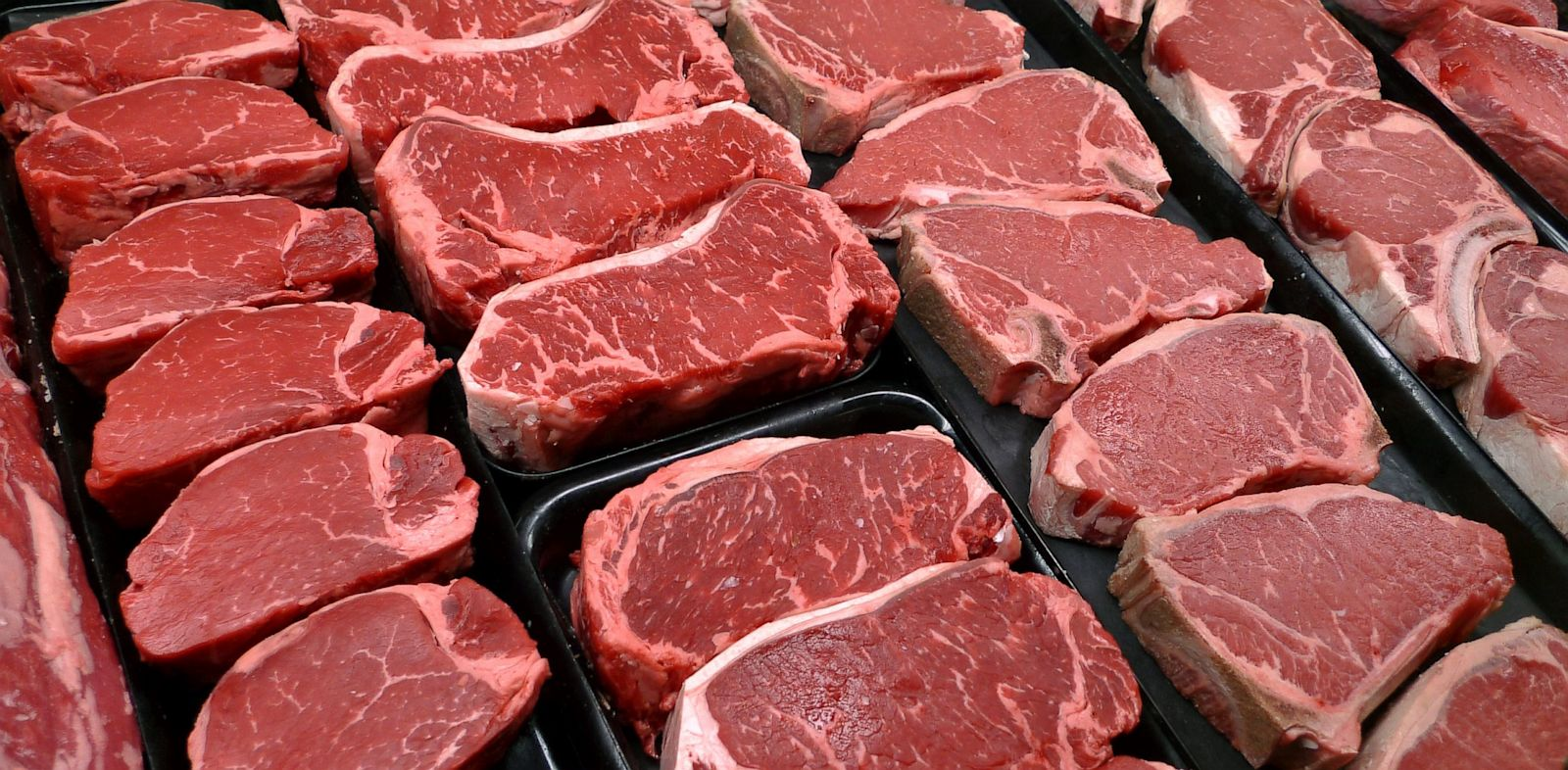 PHOTO: A file photo shows steaks and other beef products displayed for sale at a grocery store in McLean, Va.