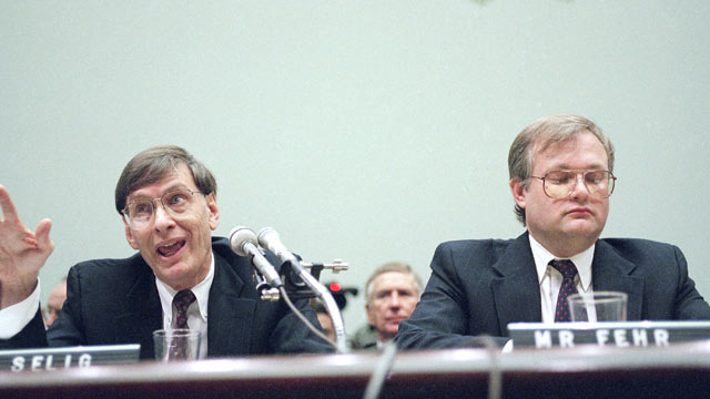 PHOTO: Acting Major League Baseball Commissioner Bud Selig, left, and Donald Fehr, executive director of the Major League Baseball Players Association testify on Capitol Hill in Washington, Sept. 22, 1994, before the House subcommittee on Economic and Com