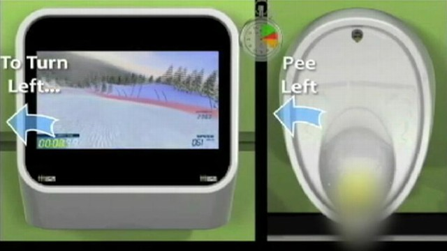 VIDEO: Video game system for restrooms lets male players urine streams act as controller.