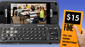 cell phone policy calls for $15 fine and detention, but use OK during lunch