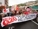 PHOTO: Anti G20 demonstrators protest against tax havens and the G20 summit,on Frances border with Monaco, Cap dAil, France, Nov. 3, 2011.