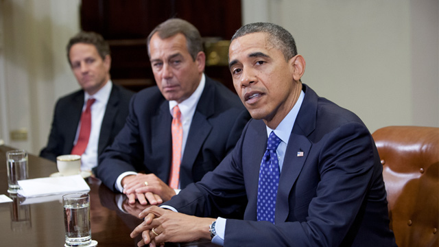 PHOTO: Barack Obama, John Boehner and Timothy Geithner