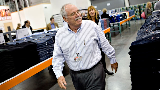 PHOTO: James Sinegal, founder and chief executive officer of Costco Wholesale Corp., smiles as he walks through a Costco store in New York, on Nov. 12, 2009.