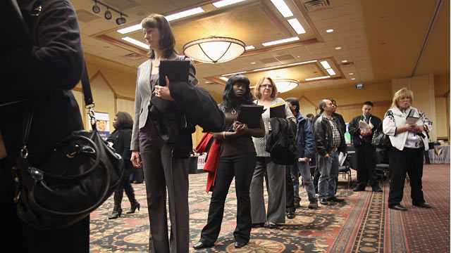 PHOTO: People in line at job fair
