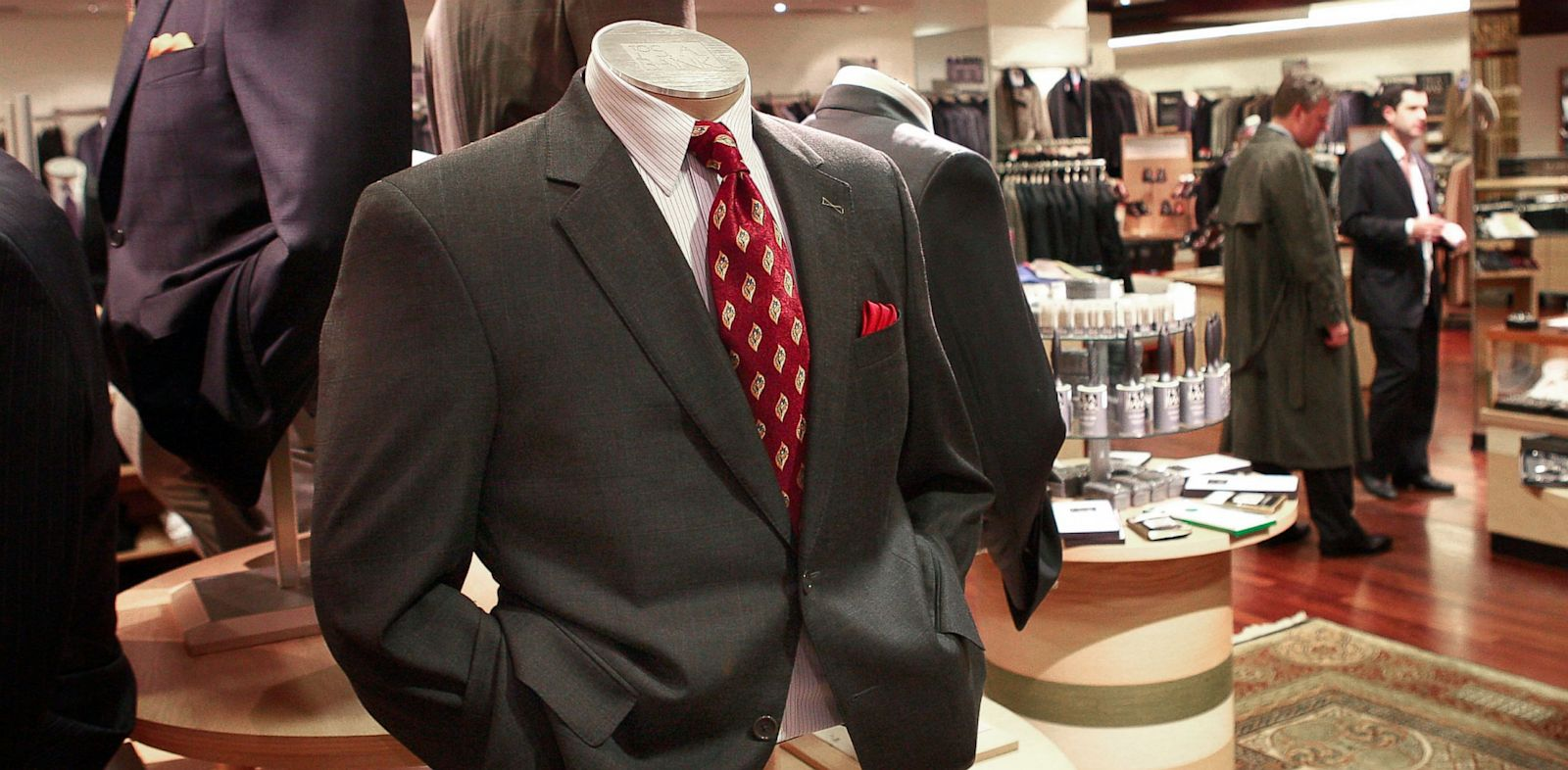PHOTO: Suits are offered for sale at a Jos. A. Bank store March 18, 2009 in Chicago.