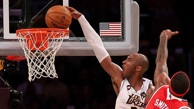 PHOTO:Kobe Bryant #24 of the Los Angeles Lakers dunks over Josh Smith #5 of the Atlanta Hawks at Staples Center on March 3, 2013, in Los Angeles.