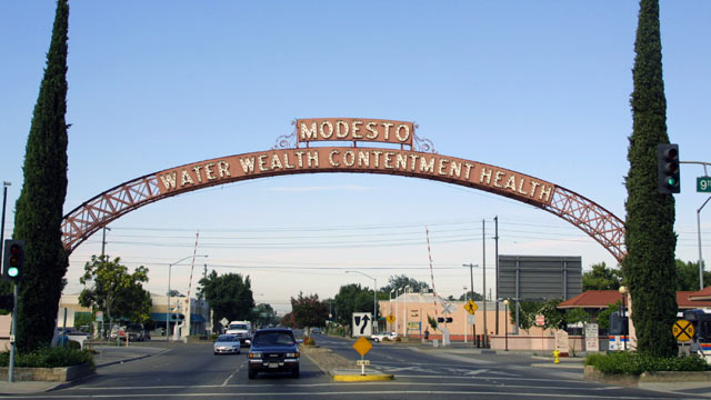 PHOTO: A view of the archway leading into the city of Modesto, CA.