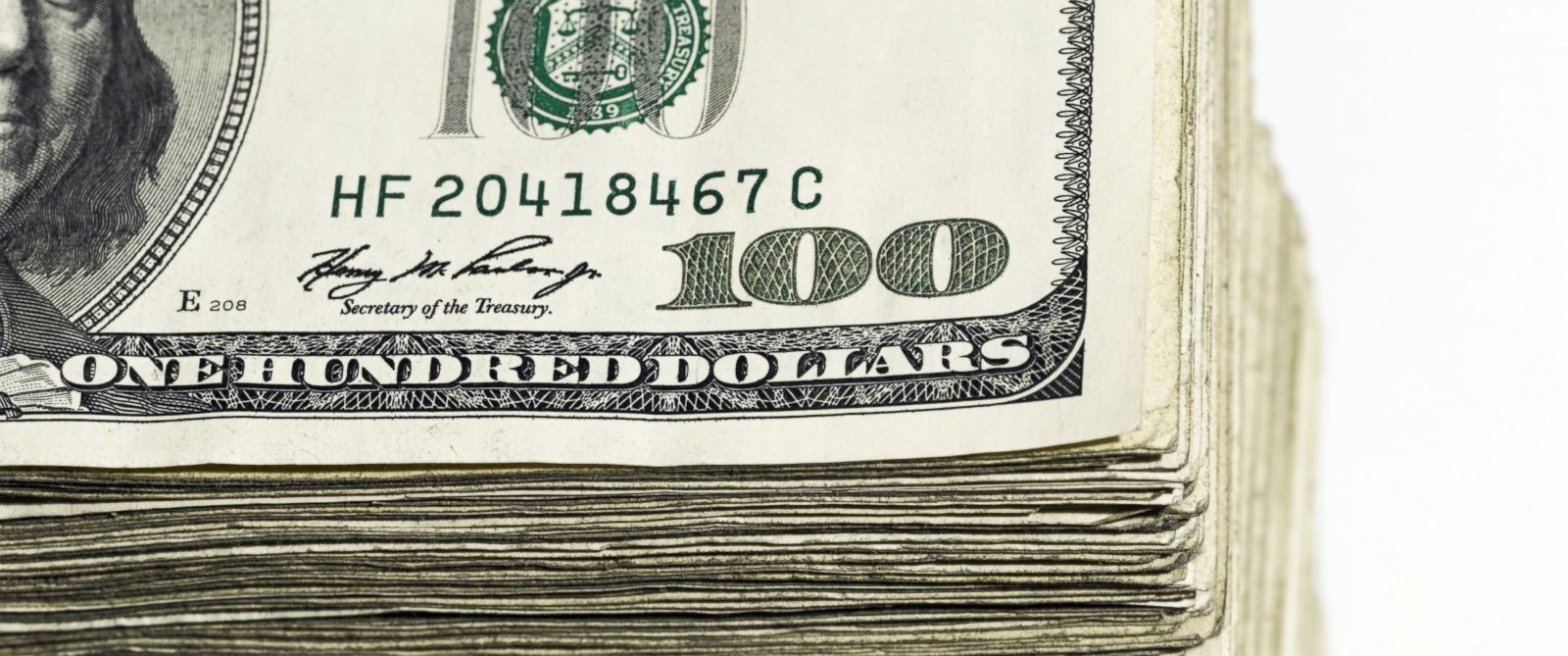 PHOTO: A stack of hundred dollar bills are seen in this stock photo.