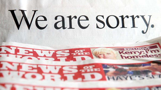 PHOTO: In this photo illustration the apology put out by News International and signed by Rupert Murdoch in some of today's national newspapers is displayed next to copies of the former News Of The World newspaper on July 18, 2011.