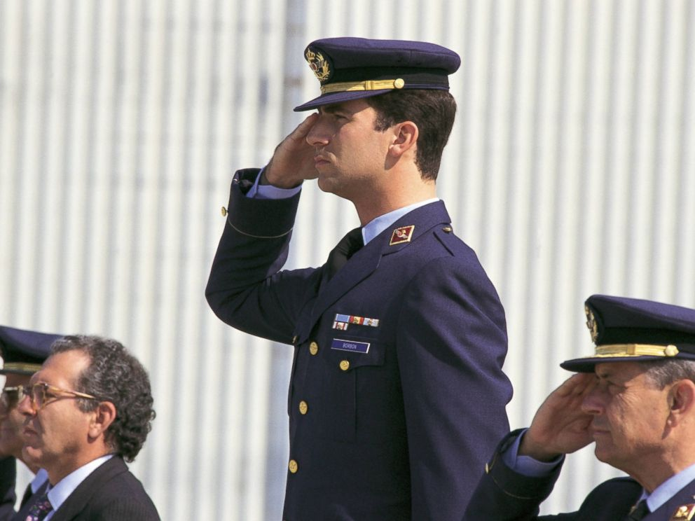PHOTO: Felipe de Borbón, Prince of Asturias, in the Air Force base of Zaragoza Prince Felipe doing the military salutation beside the minister of Defense, Eduardo Serra, and other officers, Jan. 1, 2003.