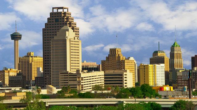 PHOTO: The skyline of San Antonio, Texas, is shown.