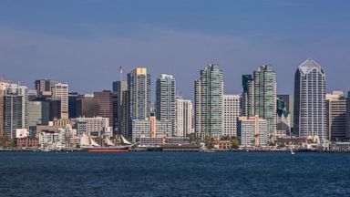PHOTO: A view of the downtown skyline is seen from Harbor Island on July 31, 2013, in San Diego, Calif.
