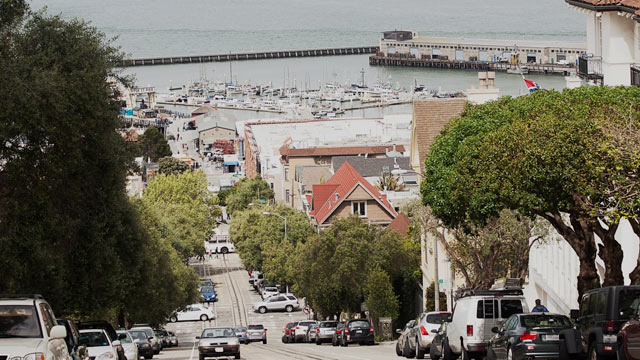 PHOTO: A street view of a hill in San Francisco, Ca.